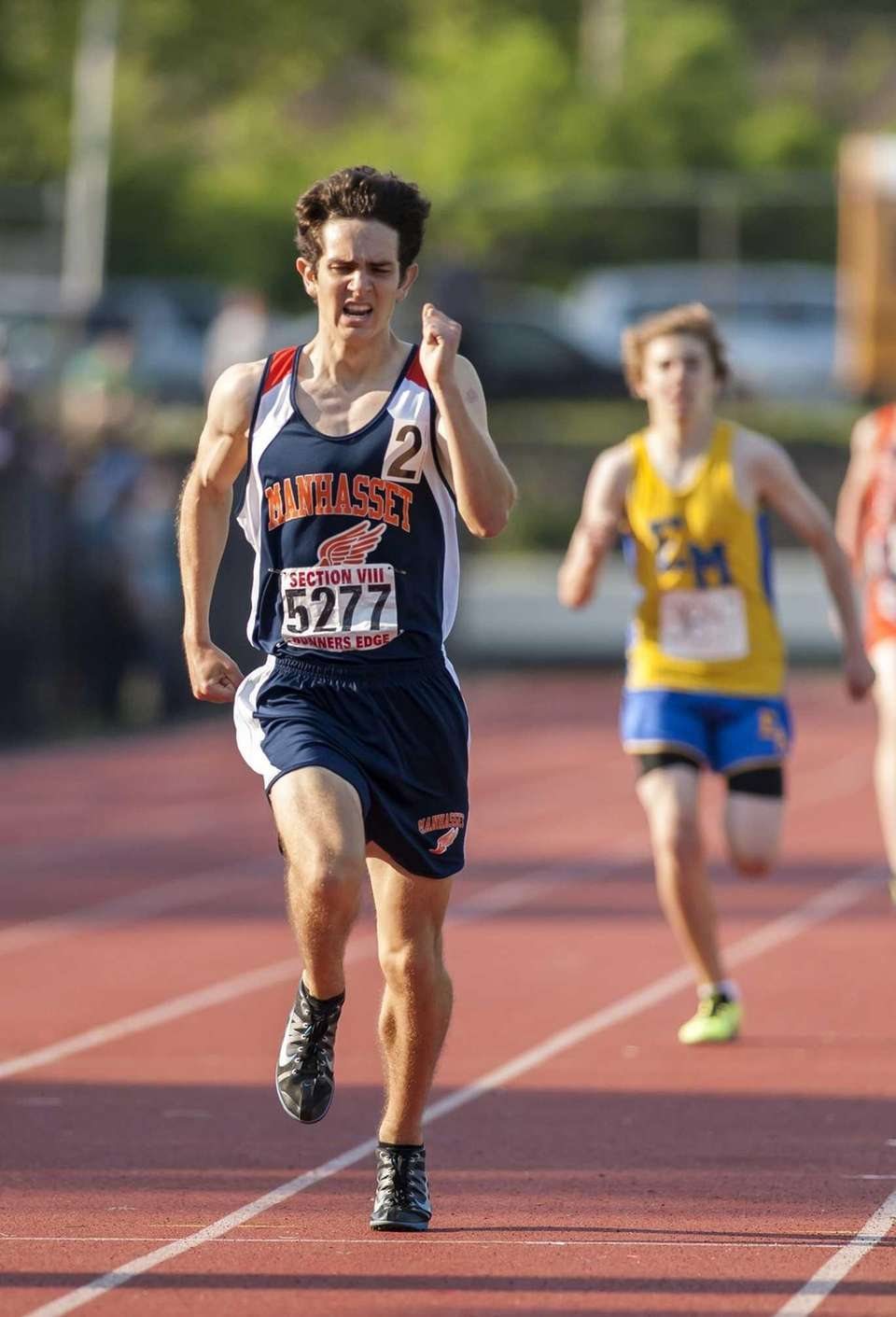Manhasset's Stephen Bourguet wins the boys 1600 meter