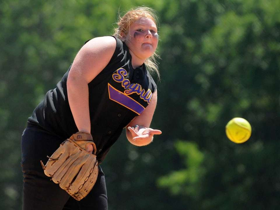 Sayville pitcher Julia Simpson delivers to the plate