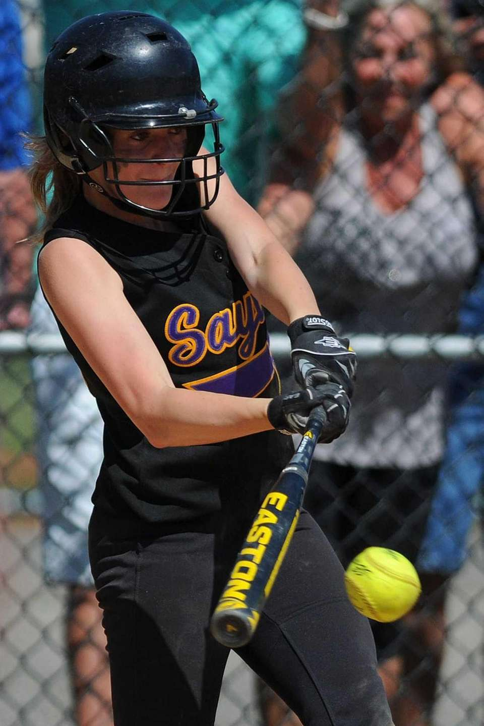 Sayville CF Jess Griffin pulls a pitch to