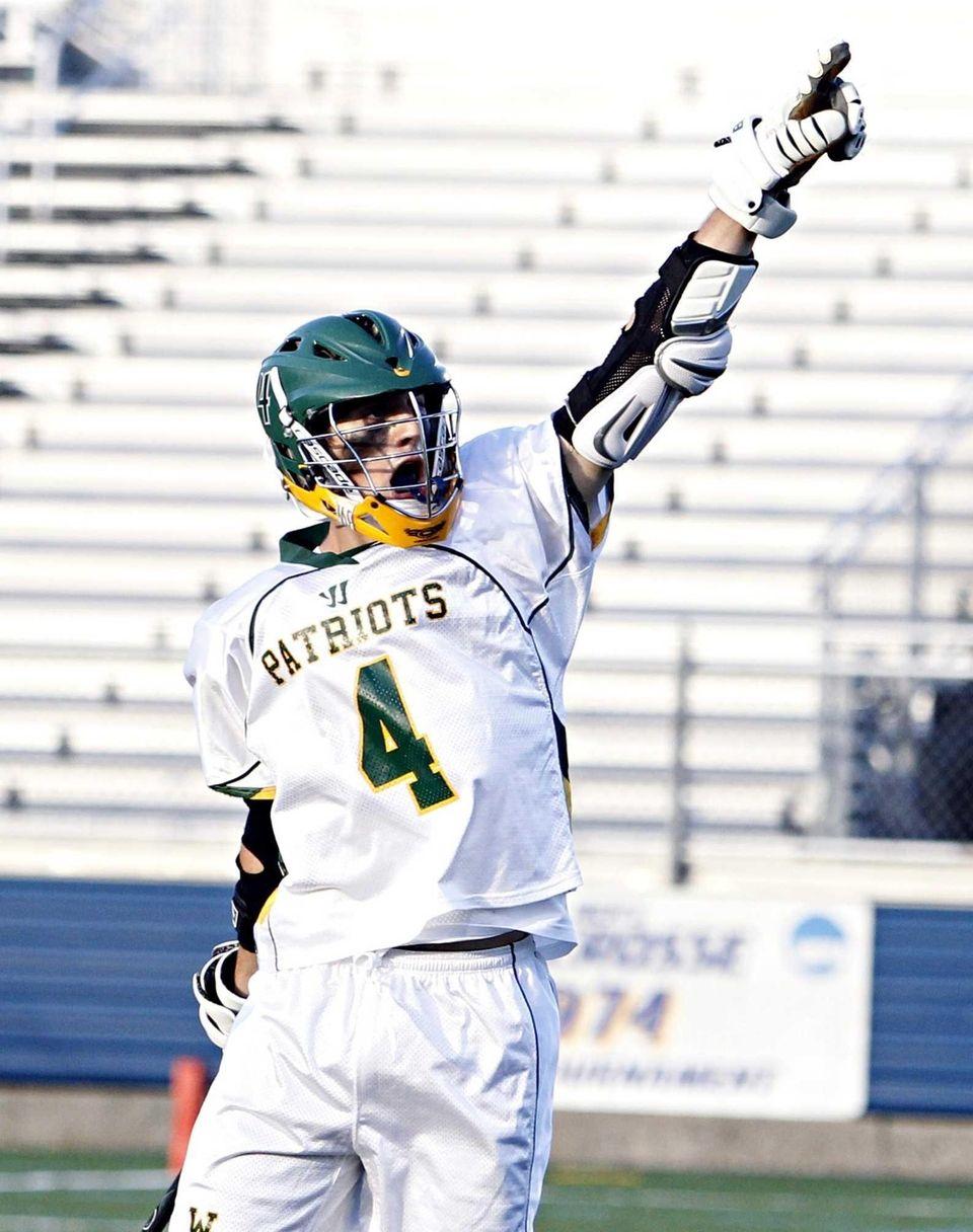 Ward Melville's Daniel Bucaro celebrates a score in