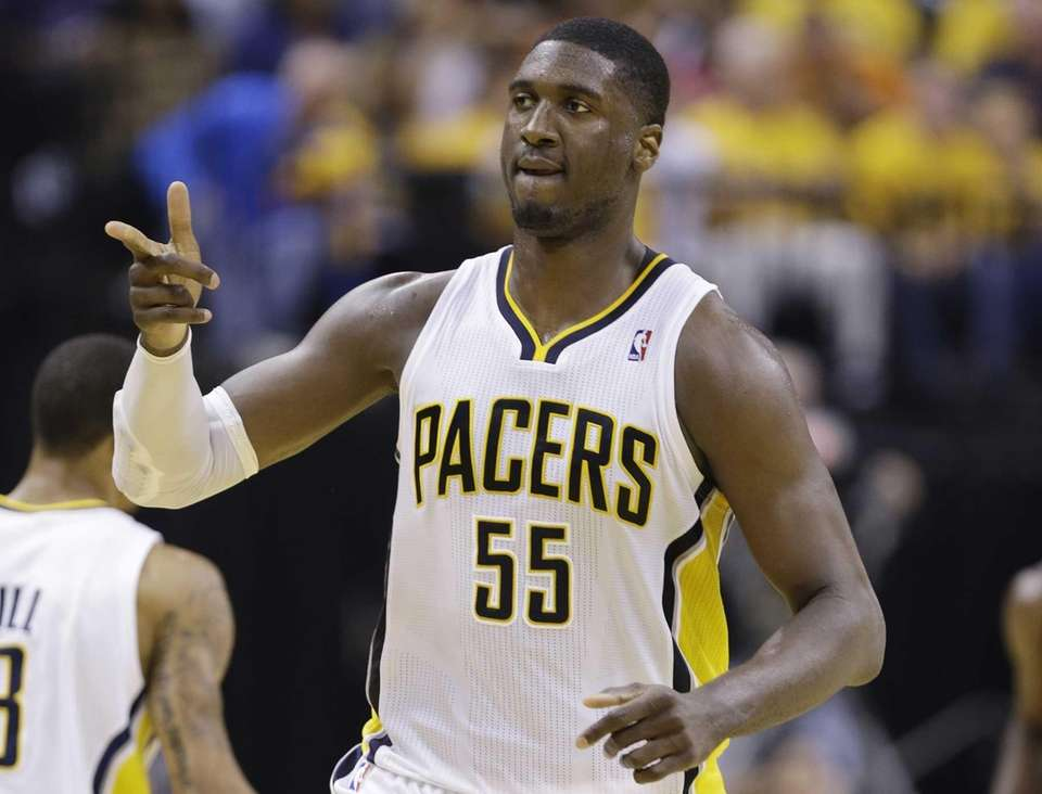 Indiana Pacers center Roy Hibbert reacts during the