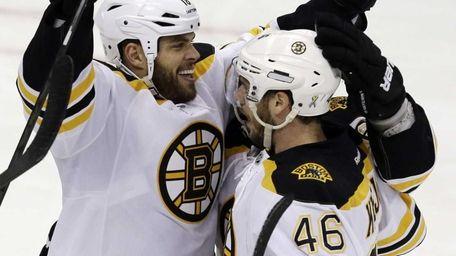 Boston Bruins' David Krejci celebrates his goal with