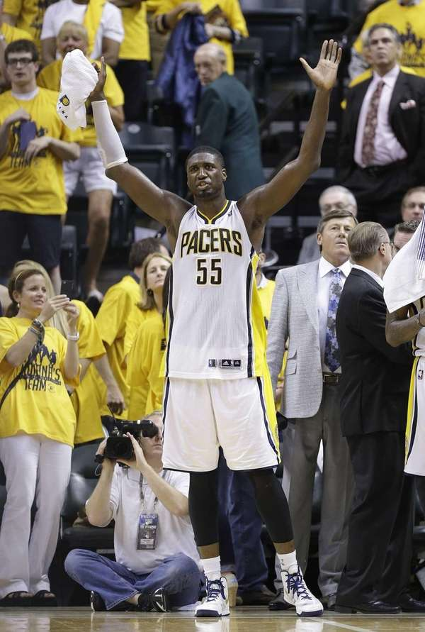 Indiana Pacers center Roy Hibbert reacts on the