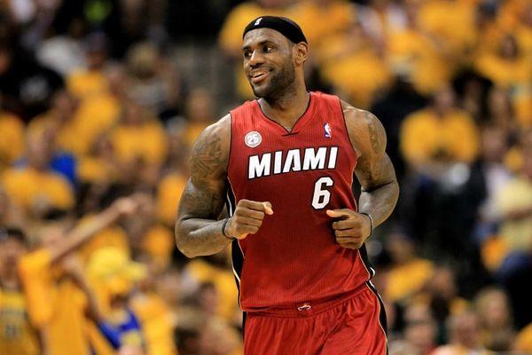 Miami Heat forward LeBron James celebrates after a