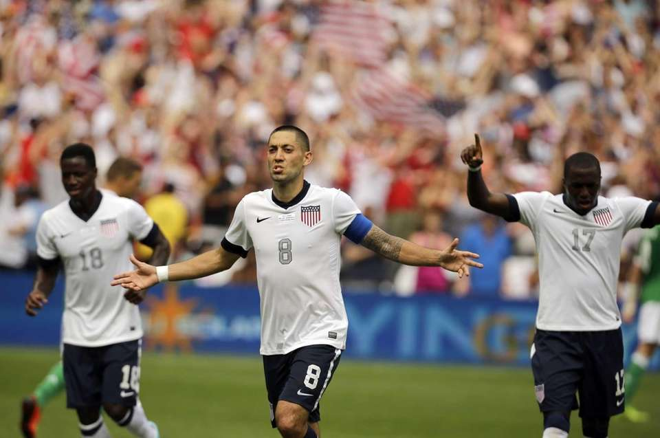 U.S. forward Clint Dempsey (8) celebrates his second