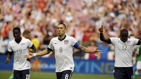 U.S. forward Clint Dempsey (8) celebrates his second