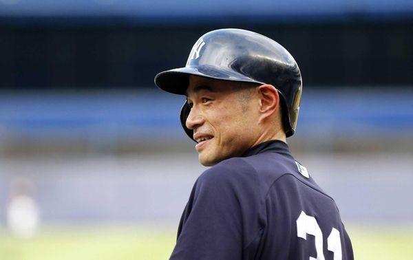 Ichiro Suzuki looks on during batting practice before