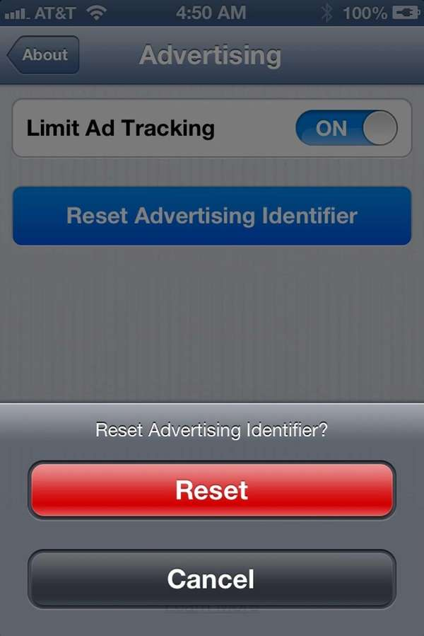 "Pressing ""Reset Advertising Identifier"" on an iPhone generates"