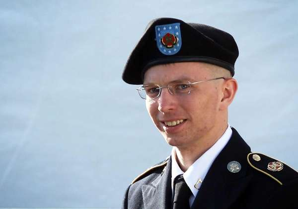 U.S. Army Private Bradley Manning leaves a military