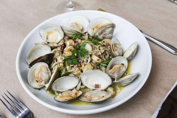 House-made spaghetti with pancetta and white clam sauce
