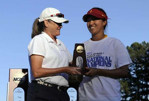 NCAA women's golf committee member Jackie Booth presents