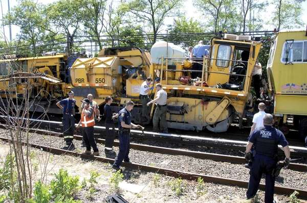 Two Long Island Rail Road work trains collided