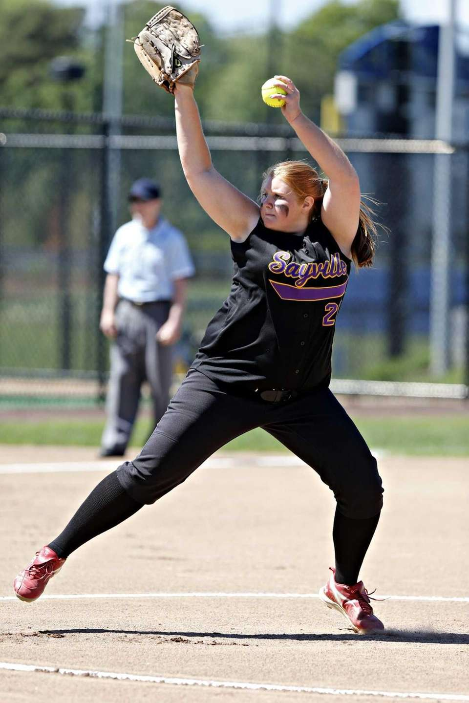 Sayville starting pitcher Julia Simpson delivers to the