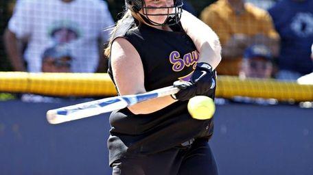 Sayville pitcher Julia Simpson hits an RBI single