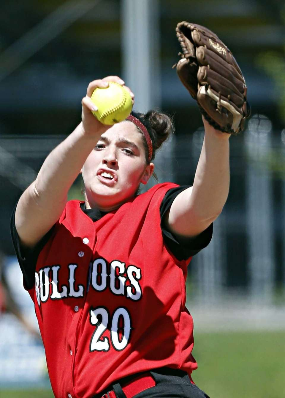 Island Trees starting pitcher Alannah Basile delivers to