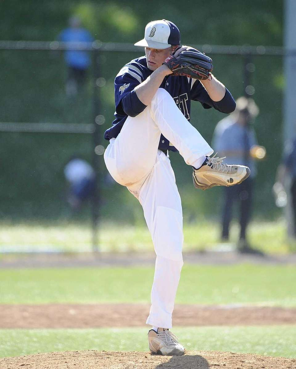Bayport-Blue Point starting pitcher Jack Piekos delivers to