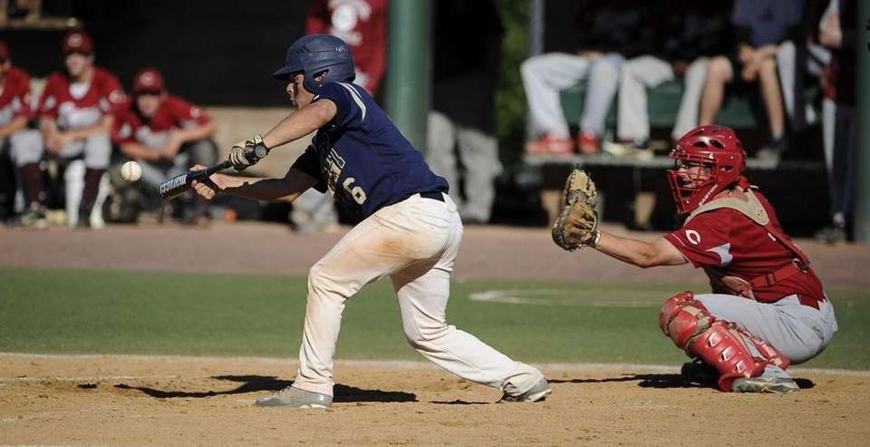 Bayport-Blue Point's Sal Geraci bunts in the fifth