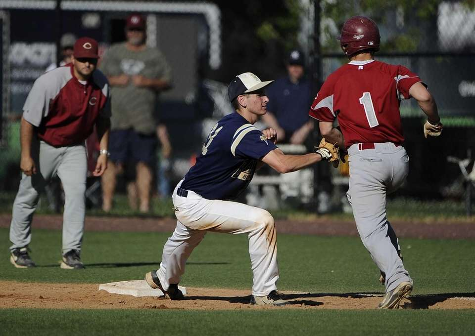 Bayport-Blue Point's Ryan Smith tags out Clarke's Peter