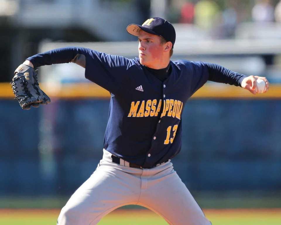 Massapequa Pitcher Alex Cosenza delivers to the plate