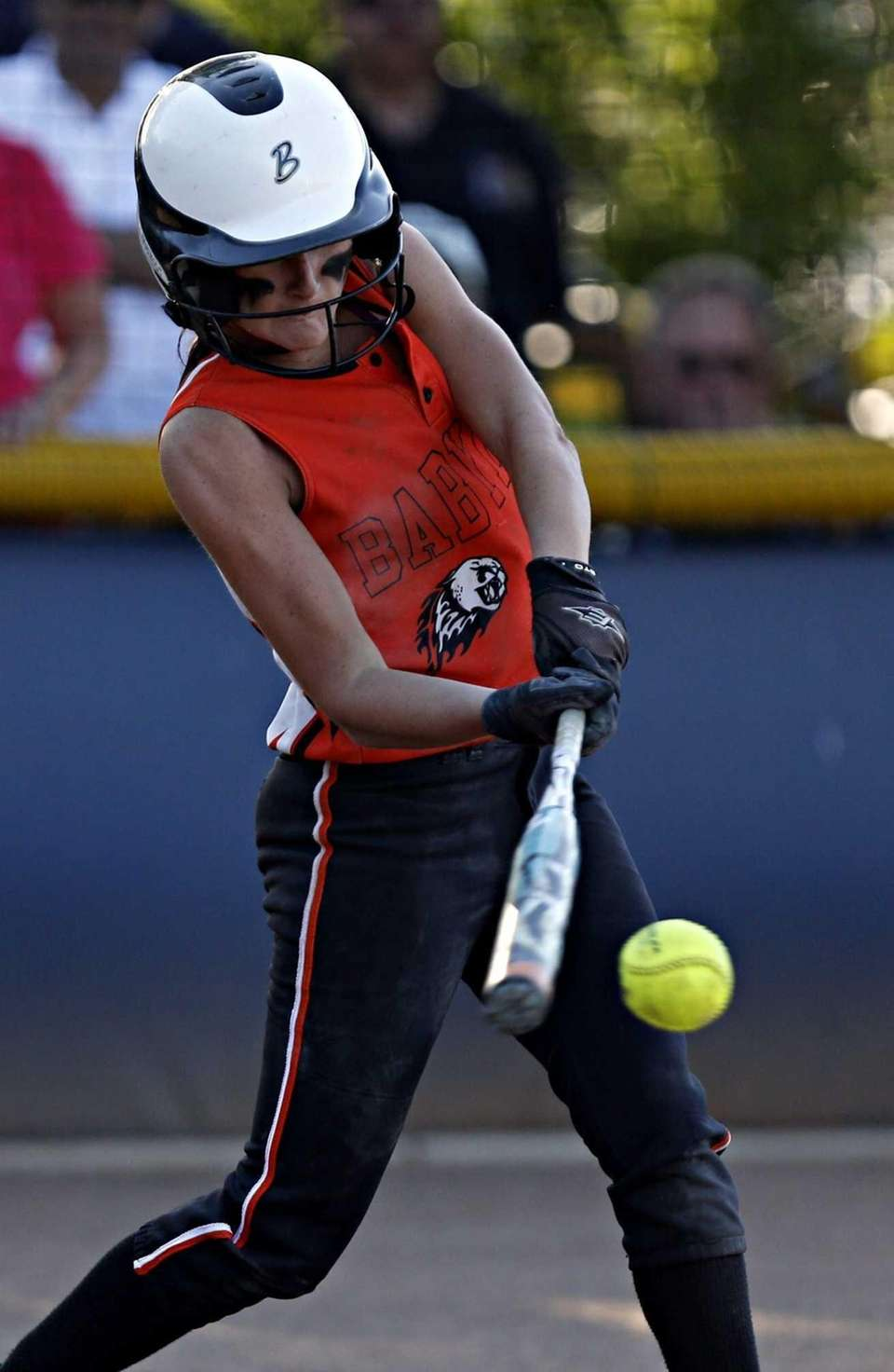 Babylon's Bridgette Rohl smacks a single in the