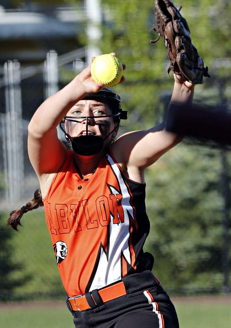 Babylon starting pitcher Alyssa Sasuk delivers a pitch
