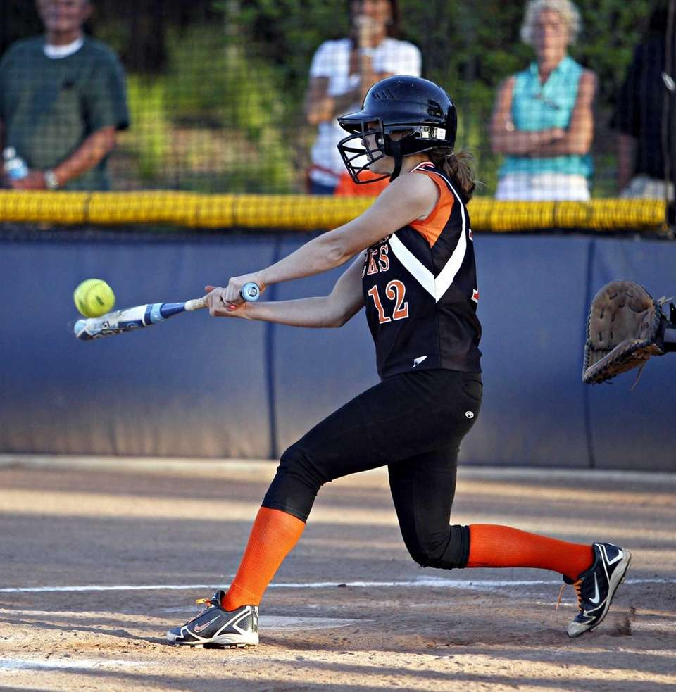 East Rockaway's Marissa Felbinger triples to center in