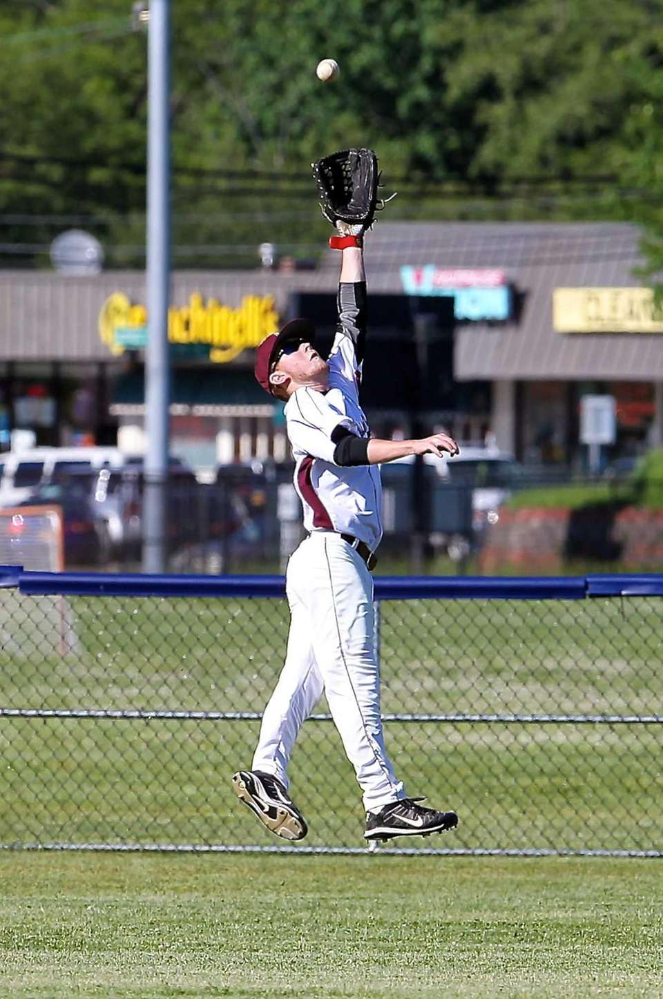 Southampton center fielder Kevin Dexter tries to catch