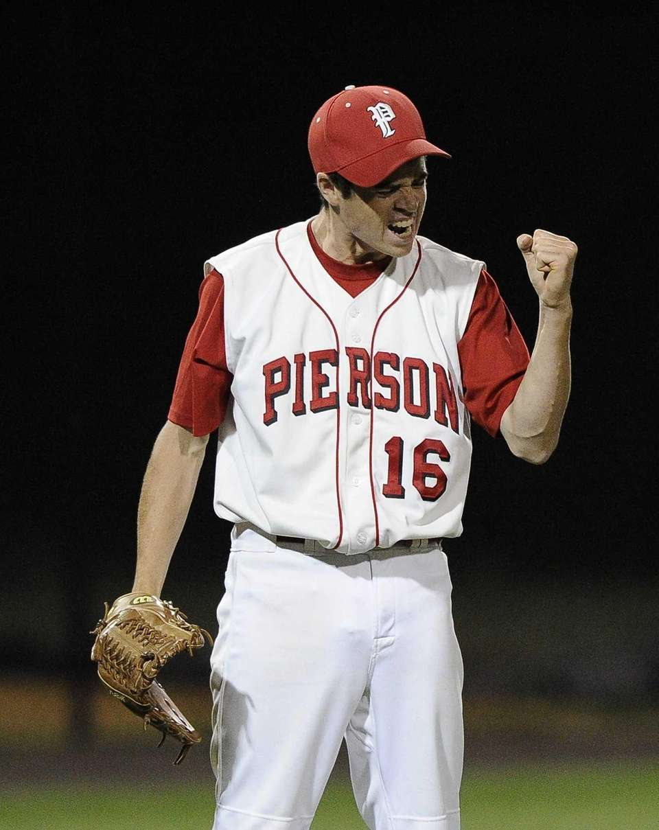 Pierson-Bridgehampton pitcher Colman Vila reacts after throwing a