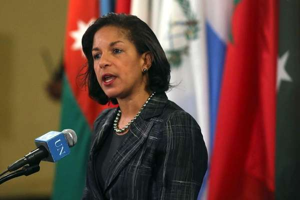 Susan Rice speaks to the media at the