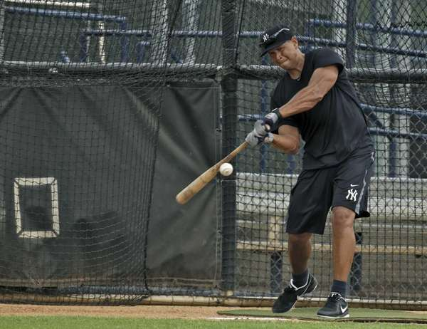Yankees' Alex Rodriguez takes batting practice during a