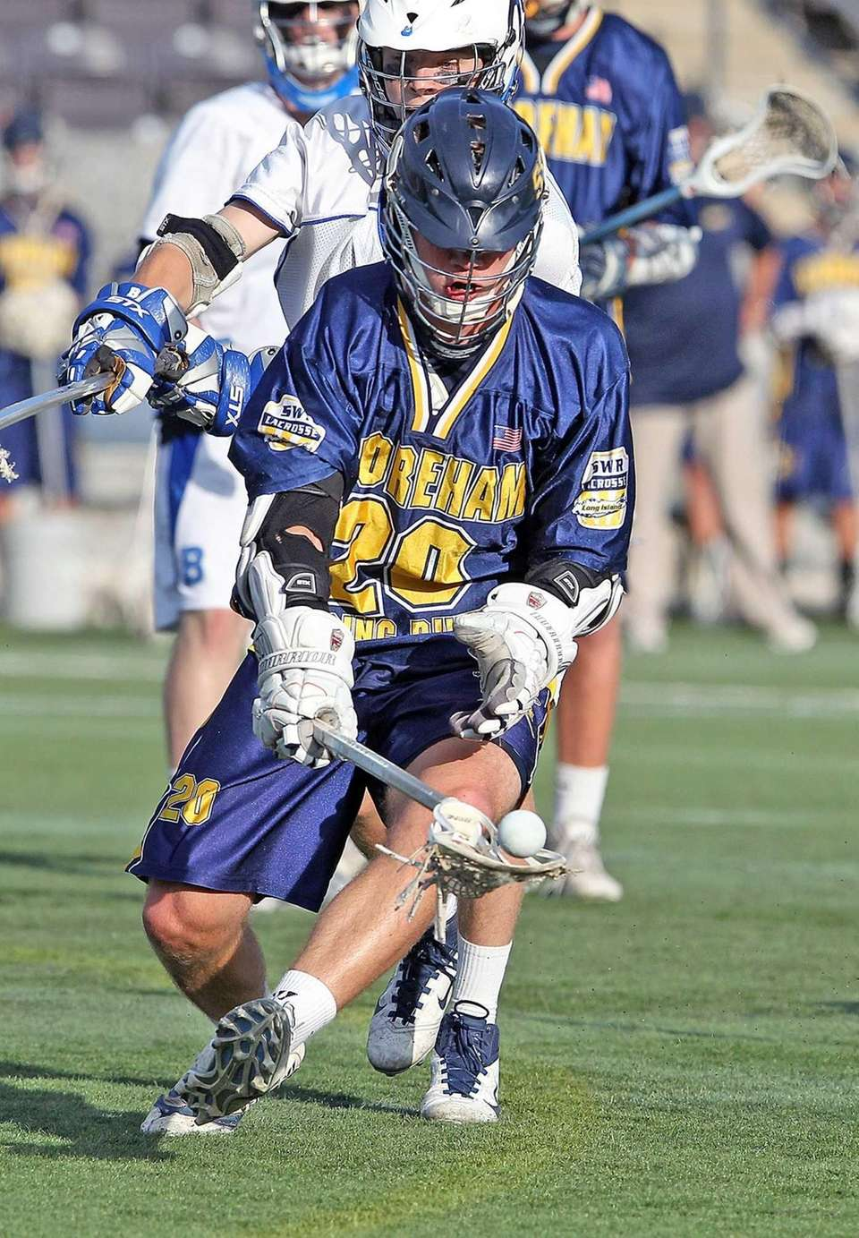 Shoreham-Wading River's Timothy Rotanz recovers the ball during