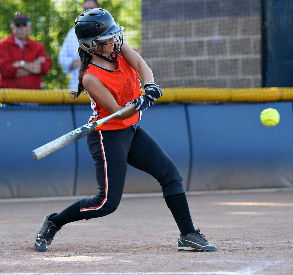 Babylon's Brianna Goodfellow drives a single to the