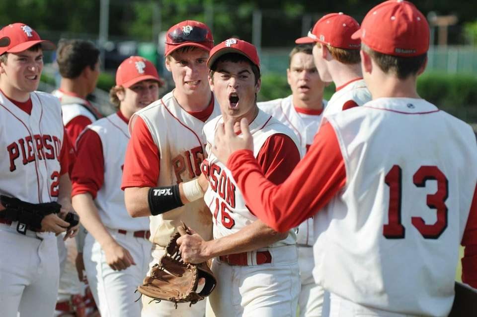Pierson's pitcher Colman Vila reacts at the end