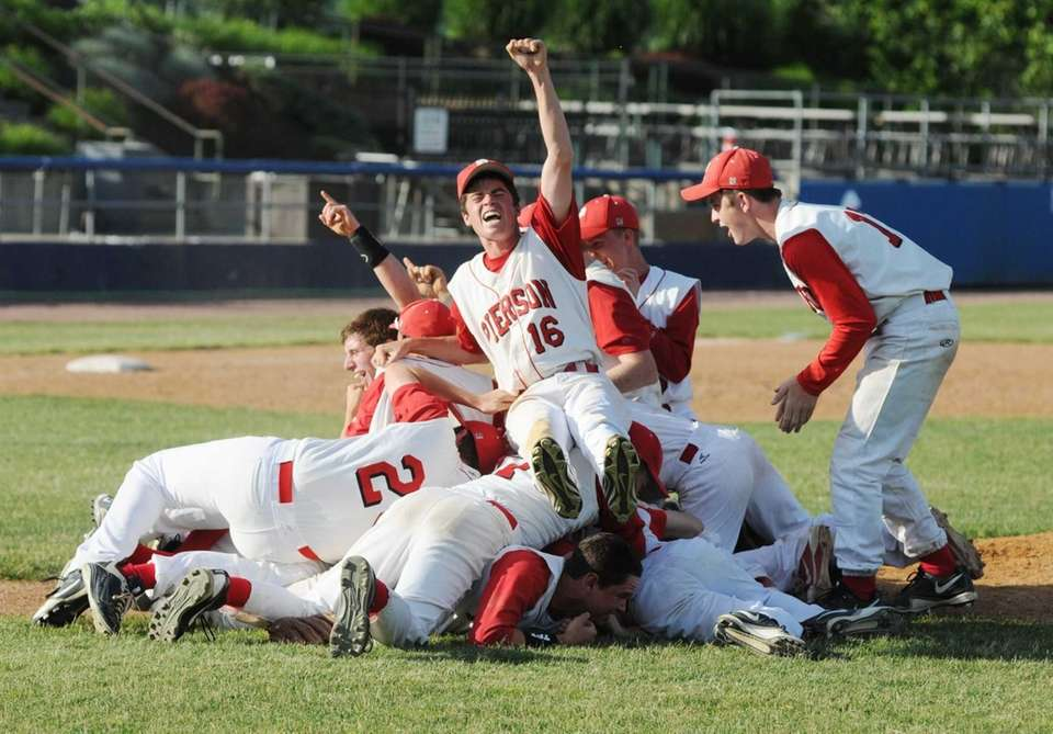 Pierson's pitcher Colman Vila and his team react
