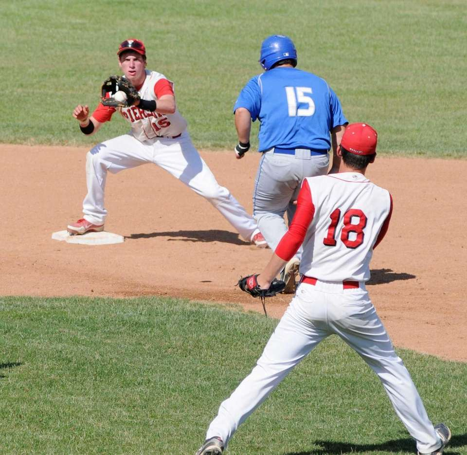 Pierson's pitcher Jake Bennett throws to Forrest Loesch