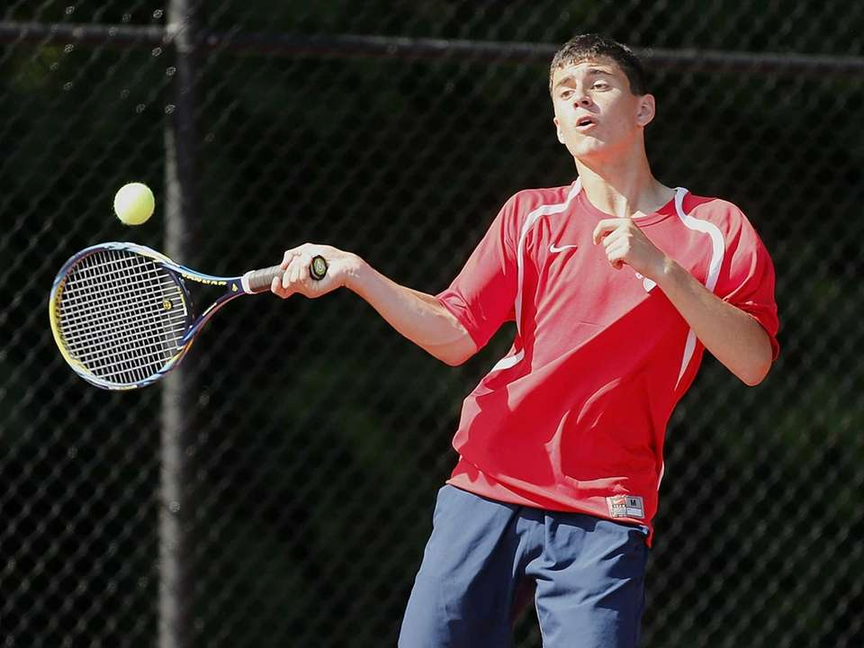 Cold Spring Harbor's George Carmi hits a forehand