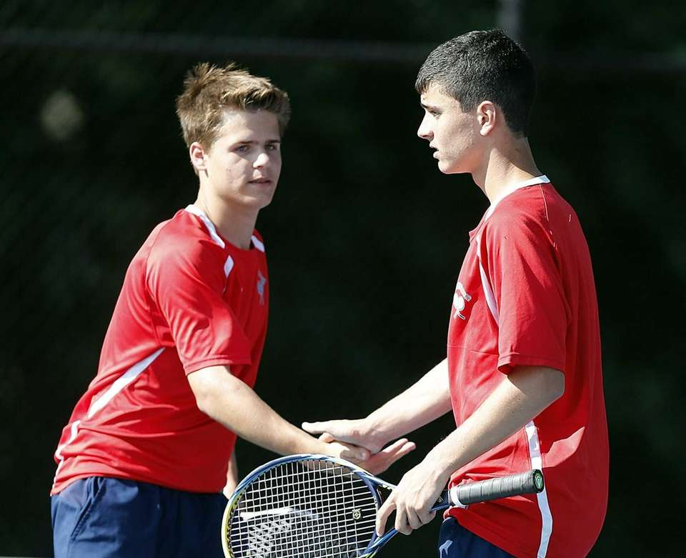 Cold Spring Harbor third doubles players George Muller,