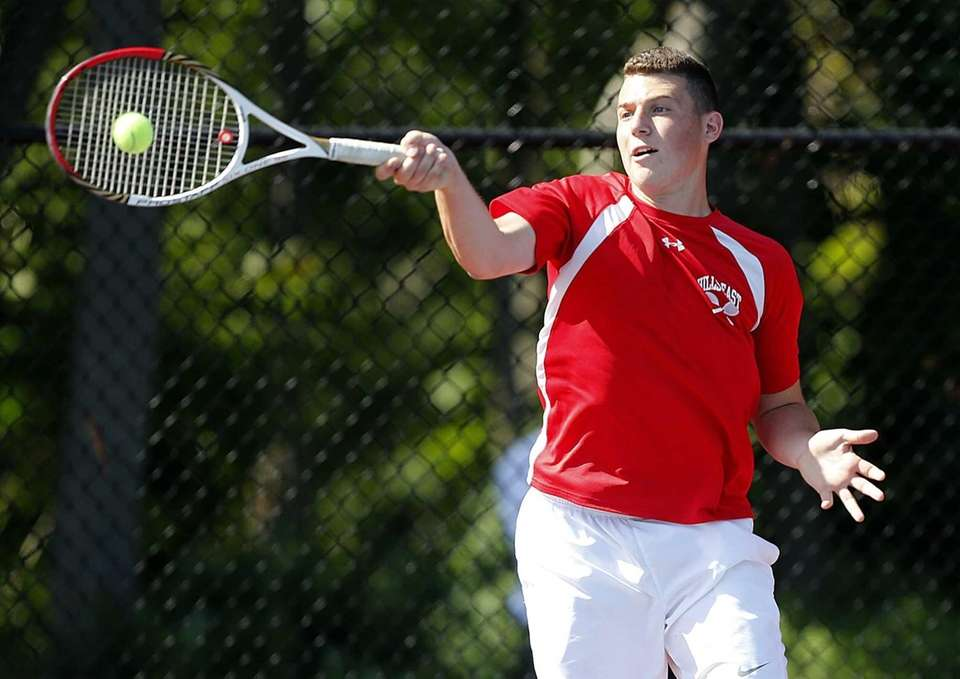 Hills East's Ross Reiffman hits a forehand return