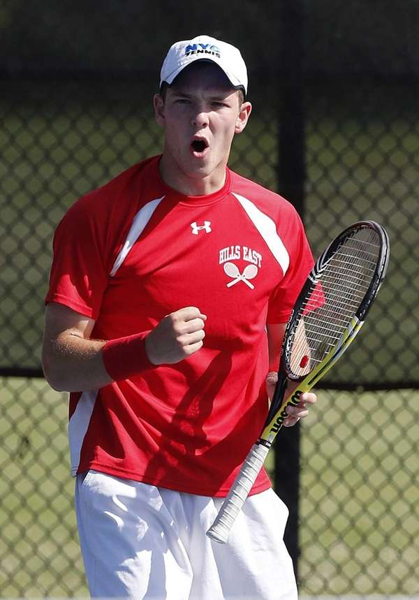 Hills East's Jeff Cherkin reacts to a point