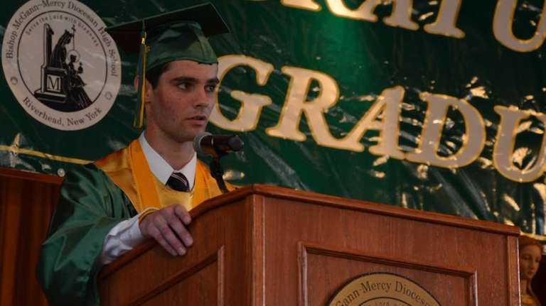 Salutatorian Anthony Pupplo, 17, of Shirley, advised fellow
