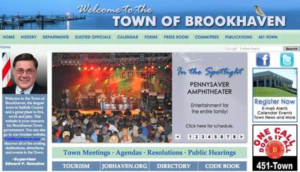 A screengrab of the Town of Brookhaven's website,