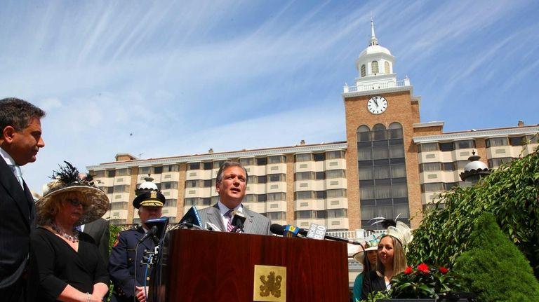 Nassau County Executive Edward Mangano speaks, at the
