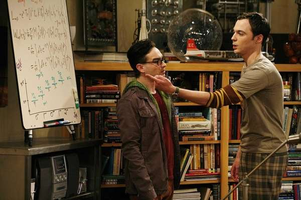 Leonard (Johnny Galecki, left) and Sheldon (Jim Parsons,