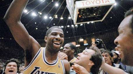 MAGIC JOHNSON'S HOOK: Kareem Abdul-Jabbar had the sky