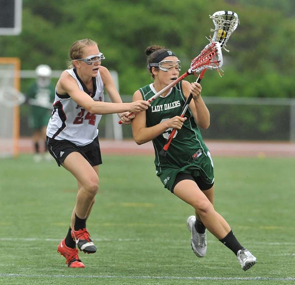 Farmingdale's Brenna Weill, right, is defended by Penfield's