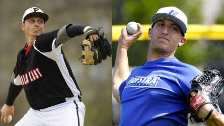 This Newsday composite shows Hofstra pitcher Bryan Verbitsky,