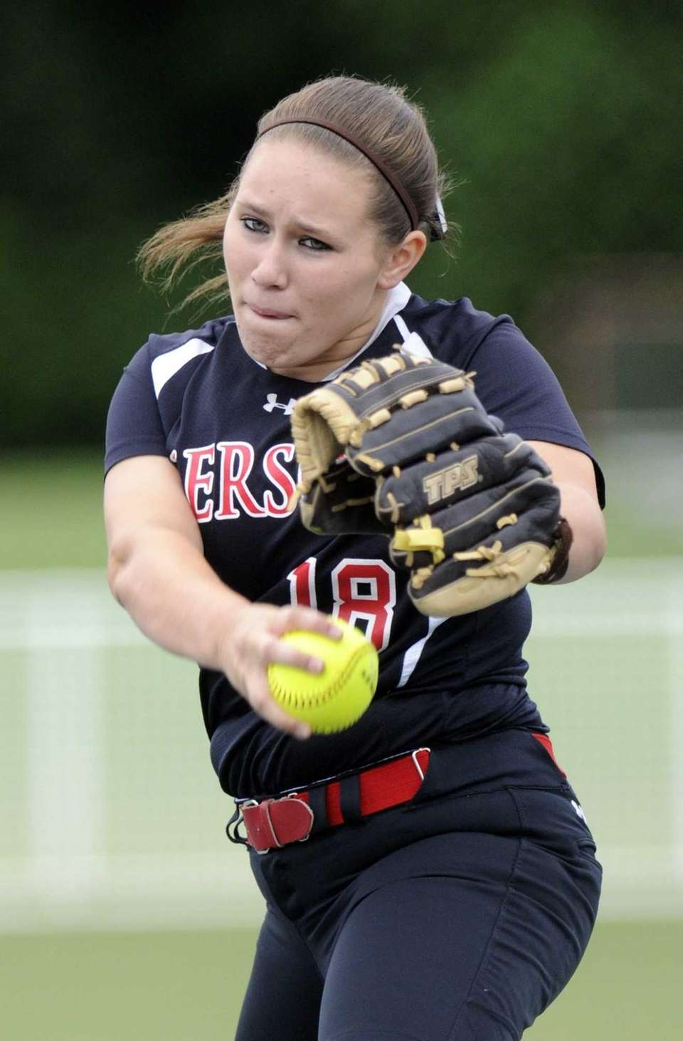 Pierson's Samantha Duchemin pitches against Frewsberg during the