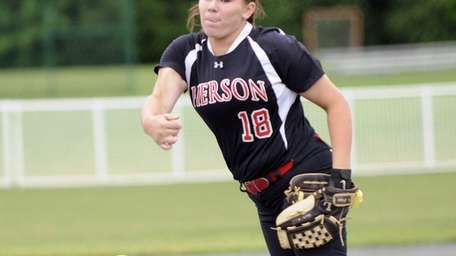 Pierson's Samantha Duchemin pitches against Frewsberg during the