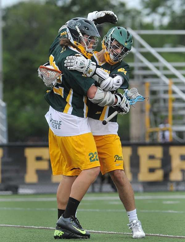 Ward Melville's Brendan Hegarty celebrates his goal, the