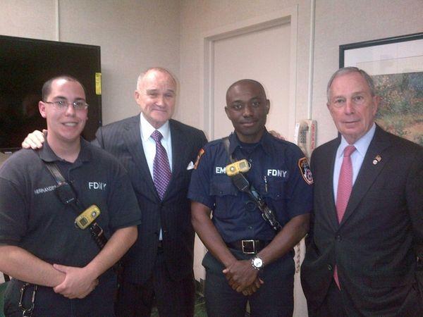 EMT Brendan Hernandez, Police Commissioner Raymond Kelly, EMT